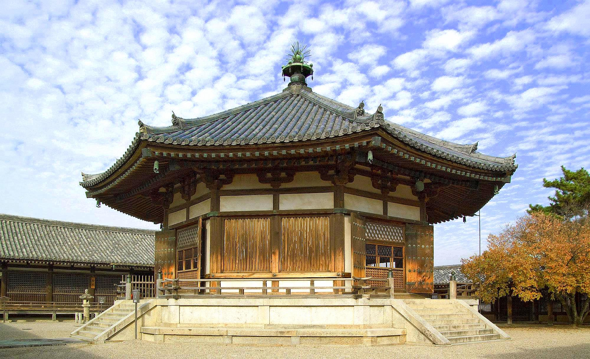 Horyuji Temple Japan  Yumedono (Hall of Dreams) Buddhist Temple UNESCO World Heritage SIte -Nara Prefecture, Japan